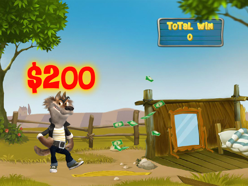 free Piggies and the Wolf bonus game wooden house prize
