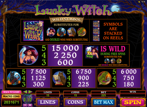 free Lucky Witch slot paytable