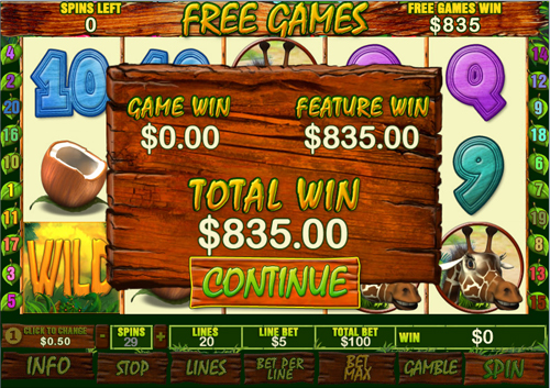 free Banana Monkey free spins total win