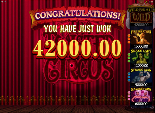 free The Twisted Circus bonus feature win