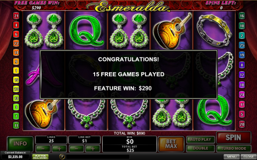 free Esmeralda bonus feature winning