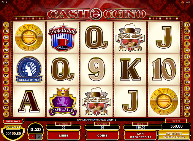 free CashOccino slot bonus feature