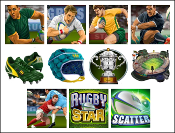 free Rugby Star slot game symbols