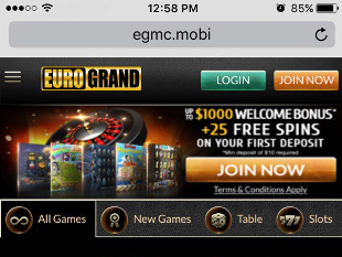 EuroGrand Mobile Casino Home