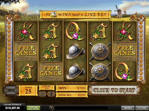 free The Riches of Don Quixote free spins feature
