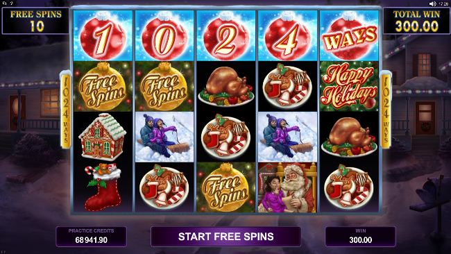 free Happy Holidays slot bonus feature