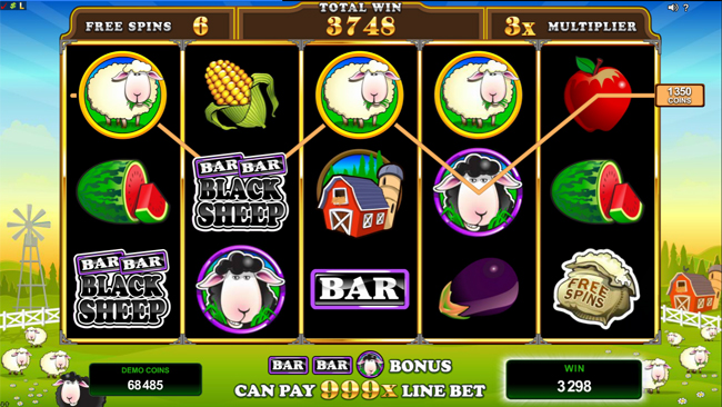 free Bar Bar Black Sheep 5 Reel slot bonus feature