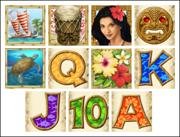 free Hawaiian Treasure slot game symbols